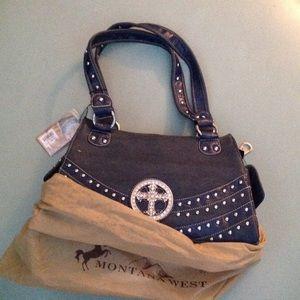 NWT Montana West denim blue handbag with cross